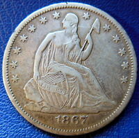 1867 S SEATED LIBERTY HALF DOLLAR EXTRA FINE XF CLEANED COIN SAN FRANCISCO 8835