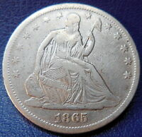 1865 S SEATED LIBERTY HALF DOLLAR FINE TO EXTRA FINE CLEANED US COIN 8830