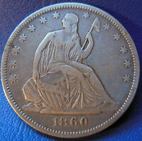 1860 O SEATED LIBERTY HALF DOLLAR EXTRA FINE XF NEW ORLEANS US COIN 6422