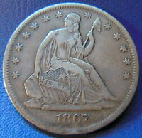 1867 S SEATED LIBERTY HALF DOLLAR EXTRA FINE XF TONED SHARP US COIN 6434