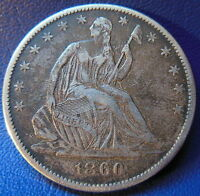 1860 O SEATED LIBERTY HALF DOLLAR EXTRA FINE TO ABOUT UNCIRCULATED US COIN 6421