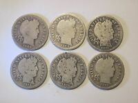 6 CIRCULATED UNCERTIFIED SILVER BARBER / LIBERTY DIMES 1902   1916 VARIOUS MINTS