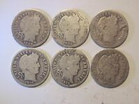 6 CIRCULATED UNCERTIFIED SILVER BARBER / LIBERTY DIMES 1898   1914 VARIOUS MINTS