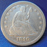 1846 QUARTER SEATED LIBERTY ABOUT UNCIRCULATED AU CLEANED US COIN 382
