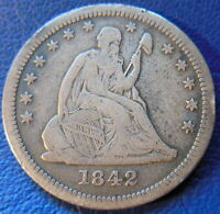 1842 O QUARTER SEATED LIBERTY FINE TO EXTRA FINE US COIN BETTER DATE 381