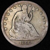 1866 S SEATED LIBERTY HALF DOLLAR CHOICE VG