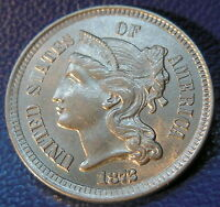 1872 THREE CENT NICKEL UNCIRCULATED HIGH END MINT STATE LUSTROUS US COIN 9760