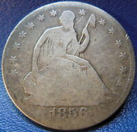 1856 S SEATED LIBERTY HALF DOLLAR GOOD TO GOOD CHOP MARKED US COIN 9531