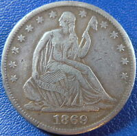 1869 S SEATED LIBERTY HALF DOLLAR FINE TO EXTRA FINE BETTER DATE 10881