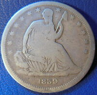 1839 NO DRAPERY SEATED LIBERTY HALF DOLLAR GOOD TO FINE US COIN 10059