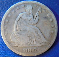 1865 S SEATED LIBERTY HALF DOLLAR FINE F BETTER DATE US COIN 10094