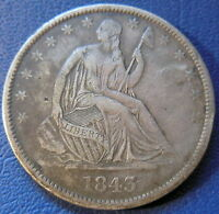 1843 O SEATED LIBERTY HALF DOLLAR EXTRA FINE XF FULL LIBERTY US COIN 8176