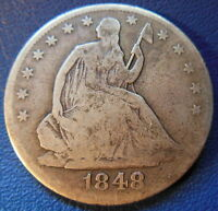 1848 O SEATED LIBERTY HALF DOLLAR GOOD VG NEW ORLEANS US COIN 7605
