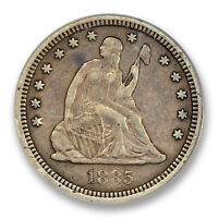 1885 LIBERTY SEATED QUARTER ANACS VF 35 FINE KEY DATE