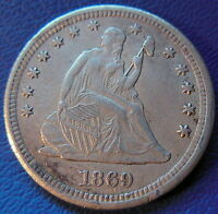 1869 S SEATED LIBERTY QUARTER EXTRA FINE TO AU KEY DATE US COIN 6237