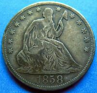 1858 S KEY DATE SEATED LIBERTY HALF DOLLAR F FINE ORIGINAL 2813