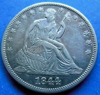 1844 SEATED LIBERTY HALF DOLLAR AU ABOUT UNCIRCULATED / MS 2808