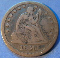 1846 SEATED LIBERTY QUARTER FINE TO EXTRA FINE BETTER DATE ORIGINAL 5991