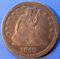 1846 SEATED LIBERTY QUARTER ABOUT UNCIRCULATED TO MS ORIGINAL US COIN 4381