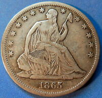 1865 S SEATED LIBERTY HALF DOLLAR FINE TO EXTRA FINE ORIGINAL US COIN 5178