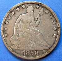 1858 S SEATED LIBERTY HALF DOLLAR FINE TO EXTRA FINE US 50C COIN 4453