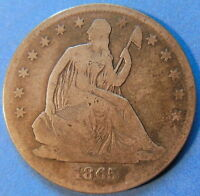 1865 S SEATED LIBERTY HALF DOLLAR GOOD TO FINE US COIN 5179