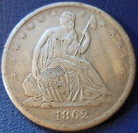 1862 S SEATED LIBERTY HALF DOLLAR EXTRA FINE XF CLEANED US COIN 7645