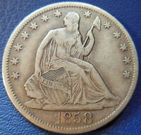 1858 S SEATED LIBERTY HALF DOLLAR EXTRA FINE XF TONED US COIN BETTER DATE 7625