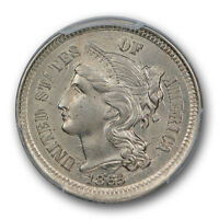 1865 THREE CENT NICKEL PCGS MS 63 UNCIRCULATED DIE CRACKS US TYPE COIN