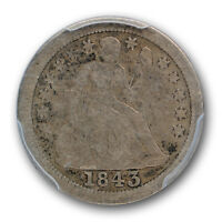 1843 O LIBERTY SEATED DIME PCGS VG 10 GOOD KEY DATE COIN