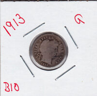 1913 BARBER DIME IN GOOD  CONDITION STK B10