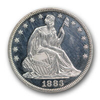 1883 PROOF LIBERTY SEATED HALF DOLLAR PCGS PR 61 CAM CAMEO STUNNING COIN
