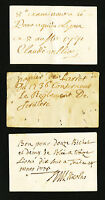 PLAYING CARD PROMISSORY NOTES   LOT OF 3 CARDS   1771 1736 1775   FRANCE