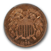 1865 TWO CENT PIECE PCGS PR 63 RB PROOF RED BROWN LOOKS R