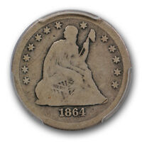 1864 S LIBERTY SEATED QUARTER PCGS G 6 GOOD TO VG KEY DATE COIN