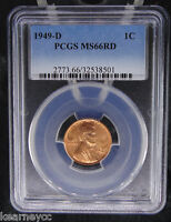 1949 D LINCOLN WHEAT CENT PENNY PCGS CERTIFIED MS 66 RD RED 501