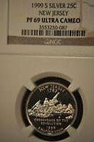 1999 S NEW JERSEY SILVER STATE QUARTER NGC PF69ULTRA CAMEO NICE FROSTED CAMEO