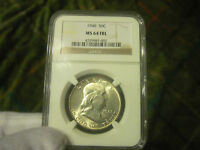 NGC 1948 P FRANKLIN HALF DOLLAR IN MS64 FBL CONDITION