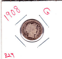1908 BARBER DIME IN GOOD  CONDITION STK B29