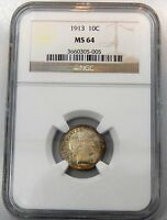 1913 BARBER DIME   NGC GRADED MS 64
