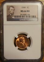 1944 LINCOLN WHEAT CENT 1   GRADED BY NGC MS 66 RED 3919085 106