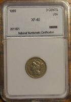 1869   3 CENT NICKEL COIN   LY FINE