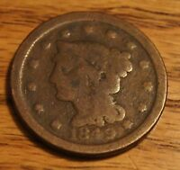 1849 LARGE BRAIDED HAIR CENT CIRCULATED OVER 160 YEARS OLD