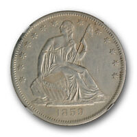 1859 S SEATED LIBERTY HALF DOLLAR NGC AU DETAILS ABOUT UNCIRCULATED