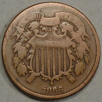 1866 TWO CENTS, INEXPENSIVE TYPE COIN  0426-03