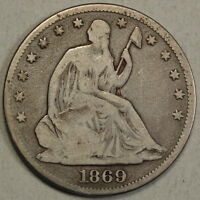 1869 SEATED LIBERTY HALF DOLLAR PROBLEM FREE CIRCULATED COIN   0828 03