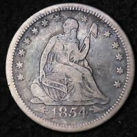 1854 O SEATED LIBERTY QUARTER CHOICE F  E377CE