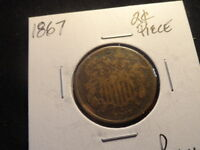 1867    USA.. TWO CENT PIECE  150  YEAR OLD COPPER COIN  2C
