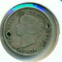 1888 CANADA SILVER FIVE CENTS VF HOLED FREE DOMESTIC SHIPPING GREAT PRICE