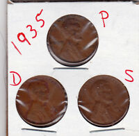 1935 P,D,AND S LINCOLN CENTS IN GOOD  BETTER CONDITION 3 COINS  STK3
